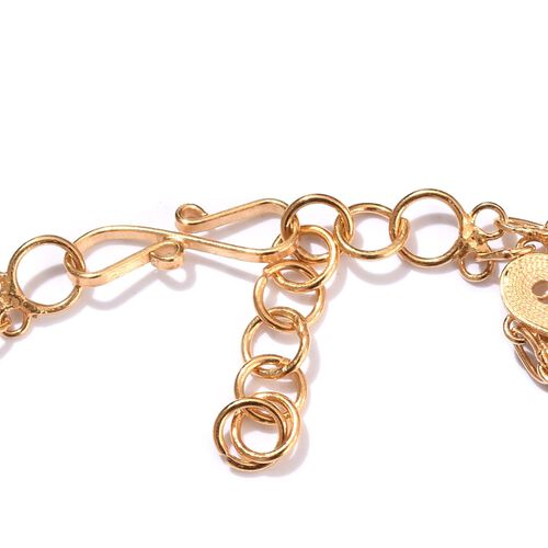 JCK Vegas Collection Yellow Gold Overlay Sterling Silver Multi Heart Bracelet (Size 7.5), Silver wt 11.15 Gms.