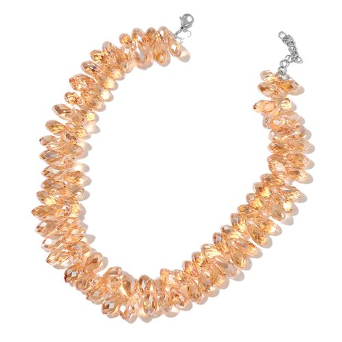 Simulated Champagne Diamond Necklace (Size 20 with 2 inch Extender) in Silver Tone
