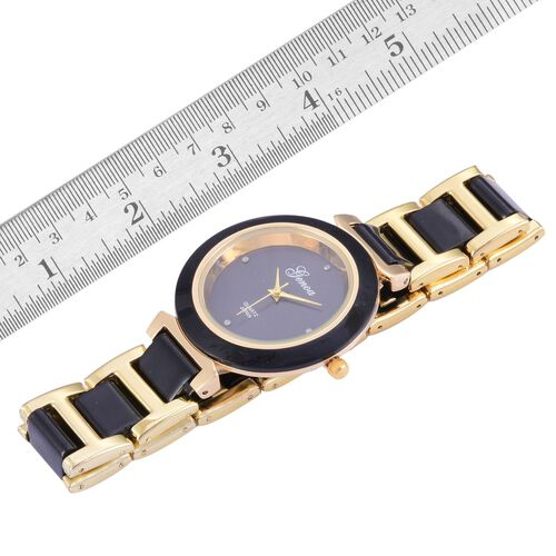 Diamond studded  GENOA Black Ceramic Japanese Movement Black Dial Water Resistant Watch in Gold Tone with Stainless Steel Back