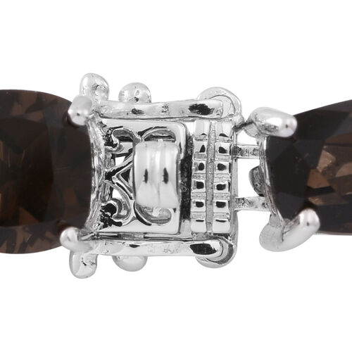 Brazilian Smoky Quartz (Cush) Bracelet (Size 7.5) in Rhodium Plated Sterling Silver 55.00 Ct.Silver Wt 17.00 Gms.