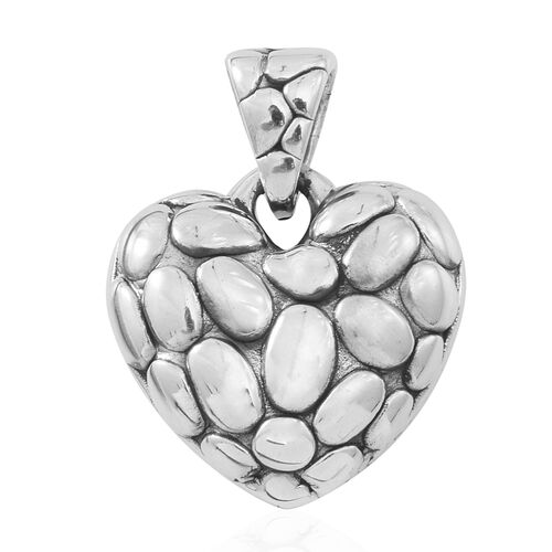 Designer Inspired- Sterling Silver Pebble Heart Pendant, Silver wt. 5.15 Gms.