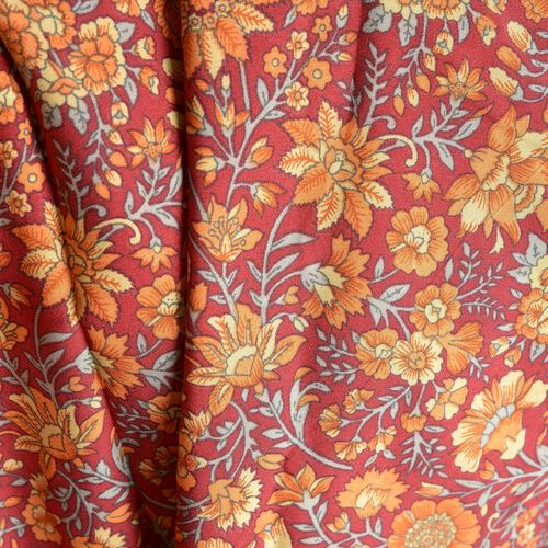 Orange, Red and Multi Colour Floral and Leaves Pattern Palazzo Trouser (Free Size)