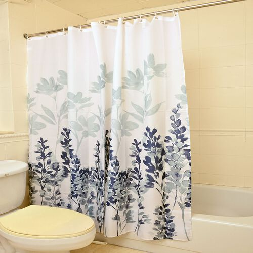 Blue Colour Lavender Pattern Luxury, Anti Stain, Water - Proof Shower Curtain with 12 Hooks (Size 180x180 Cm)