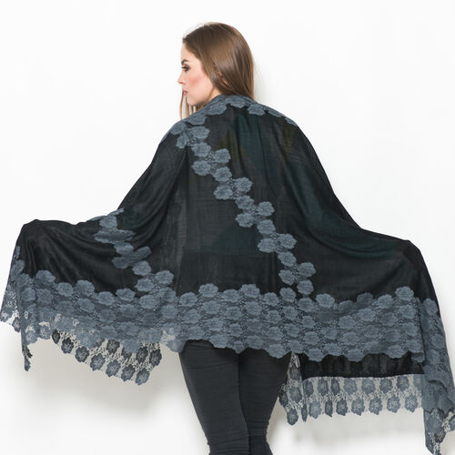 Hand Knitted - (50% Mulberry Silk and 50% Merino Wool) Black Colour Scarf with Grey Floral Lace Border (Size 170x75 Cm)