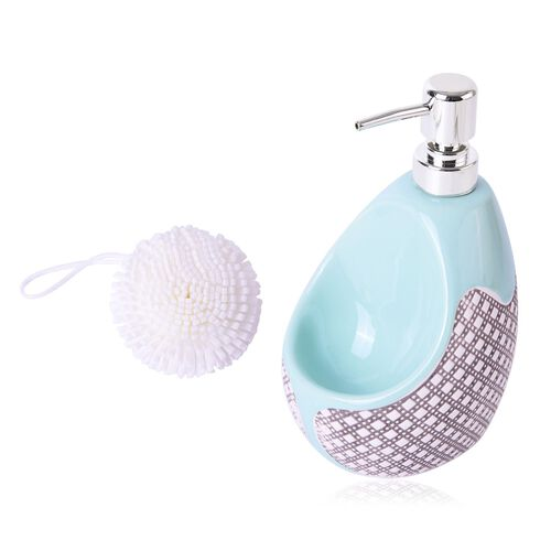 Green Colour Oval Vase Shape Ceramic Lotion Dispenser With White Scrubbies (Size 20x10 Cm)
