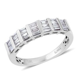 ILIANA 18K White Gold IGI Certified Diamond (Bgt) (SI/G-H) Half Eternity Ring 0.500 Ct.