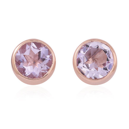 Rose De France Amethyst (Rnd) Stud Earrings (with Push Back) in 14K Rose Gold Overlay Sterling Silver 3.500 Ct.