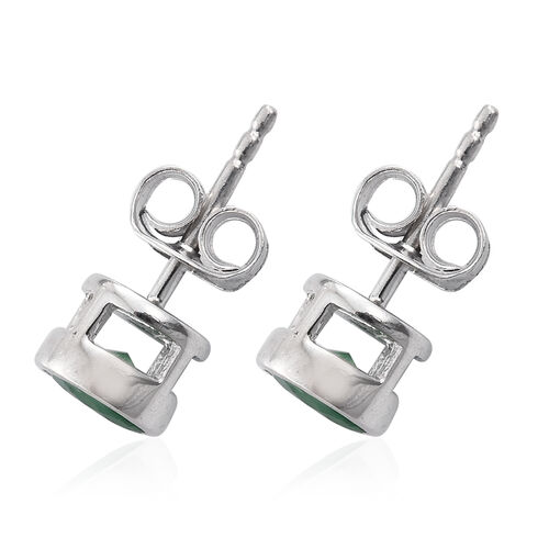 1 Carat Kagem Zambian Emerald Stud Earrings in Platinum Plated Silver (with Push Back)
