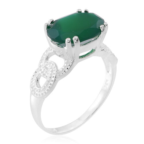 Verde Onyx (Ovl) Solitaire Ring in Sterling Silver 5.000 Ct.