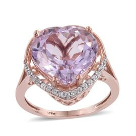 Rose De France Amethyst (Hrt 8.40 Ct), Natural Cambodian Zircon Ring in Rose Gold Overlay Sterling Silver 8.500 Ct.