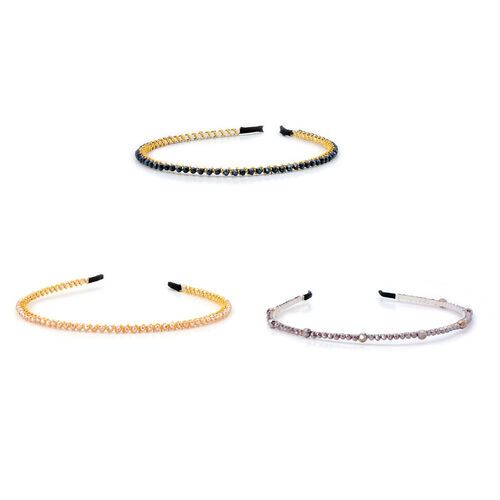 Set of 3 - Light Purple, Dark Blue and Champagne Glass Bead Head Band in Silver and Gold Tone