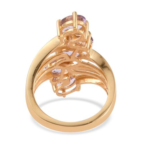 Amethyst (Ovl) 5 Stone Ring in 14K Gold Overlay Sterling Silver 3.250 Ct.