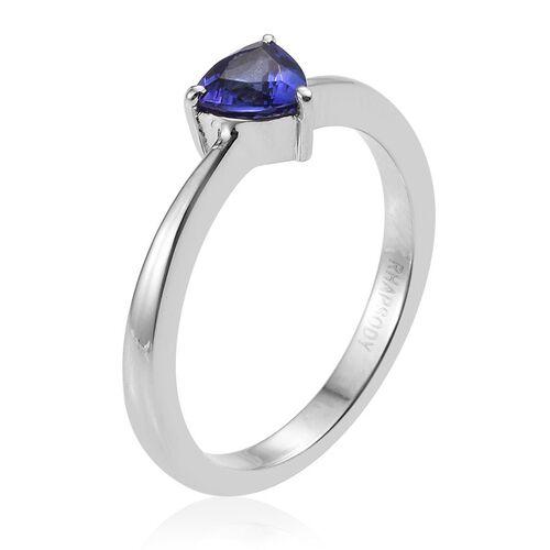 RHAPSODY 950 Platinum 0.50 Carat AAAA Tanzanite Trillion Solitaire Ring.