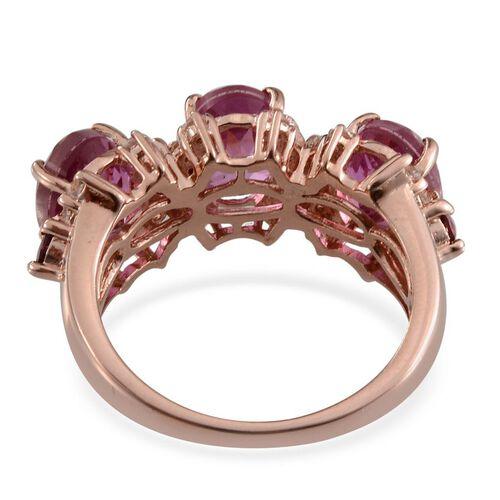 Kunzite Colour Quartz (Ovl), Rhodolite Garnet and White Topaz Ring in Rose Gold Overlay Sterling Silver 5.750 Ct.