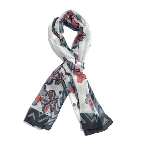 100% Mulberry Silk Red, Grey and Multi Colour Handscreen Floral Printed Scarf (Size 170X50 Cm)