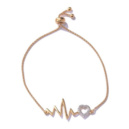 Diamond (Rnd) Adjustable Heartbeat Bracelet (Size 6.5 to 8) in 14K Gold Overlay Sterling Silver