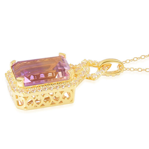 Anahi Ametrine (Oct 14.75 Ct), Natural White Cambodian Zircon Pendant with Chain in Yellow Gold Overlay Sterling Silver 15.900 Ct.