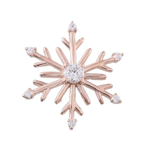 ELANZA AAA Simulated Diamond (Rnd) Snowflake Pendant in Rose Gold Overlay Sterling Silver