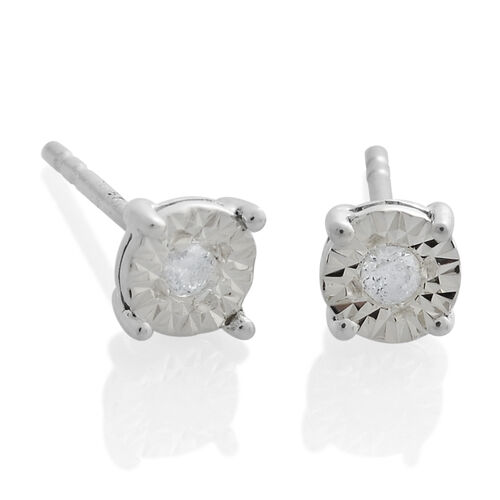 9K White Gold Diamond Solitaire Pendant and Stud Earrings Set SGL Certified (I3/G-H)