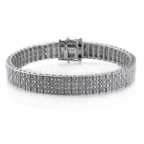 Diamond (Rnd) Bracelet (Size 7.5) in Platinum Overlay Sterling Silver 1.000 Ct. Silver Wt 24.00 Gms