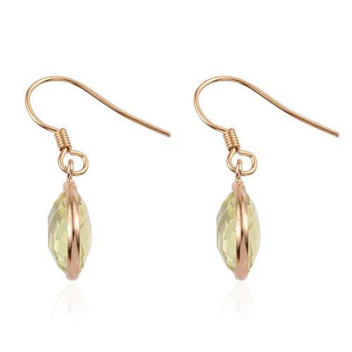 Brazilian Green Gold Quartz (Pear) Hook Earrings in 14K Gold Overlay Sterling Silver 9.000 Ct.
