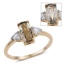 14K Y Gold AA Natural Turkizite (Cush 1.85 Ct), Diamond (I1-I2/G-H) Ring 2.150 Ct.