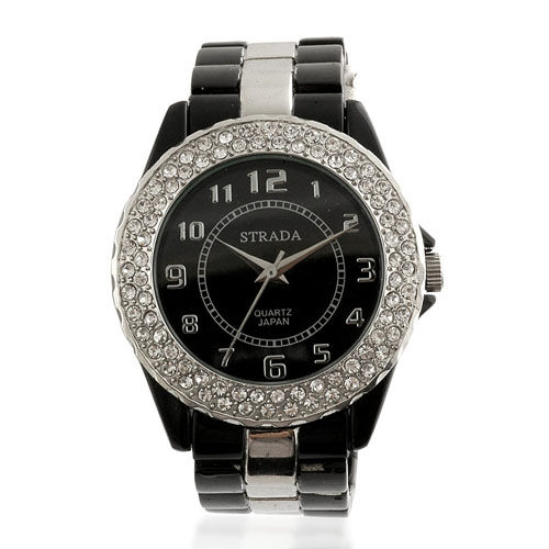 STRADA Austrian White Crystal Studded, Japanese Movement Watch Palladium Plated 3 hand Black Watch  0.001  Ct.