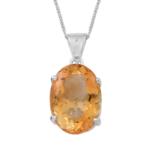 Rare AAA Uruguay Citrine (Ovl) Pendant With Chain in Rhodium Plated Sterling Silver 11.000 Ct.