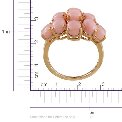 Peruvian Pink Opal (Ovl) Cluster Ring in Yellow Gold Overlay Sterling Silver 6.750 Ct.