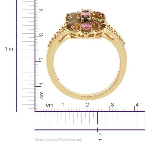 Rainbow Tourmaline (Ovl) Twin Floral Ring in 14K Gold Overlay Sterling Silver 2.000 Ct.