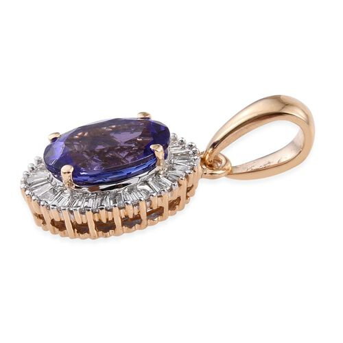 ILIANA 18K Y Gold AAA Tanzanite (Ovl 1.25 Ct), Diamond Pendant 1.500 Ct.
