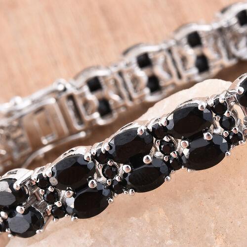 Boi Ploi Black Spinel (Ovl) Bracelet (Size 7.5) in Platinum Overlay Sterling Silver 30.500 Ct. Silver wt 21.49 Gms.
