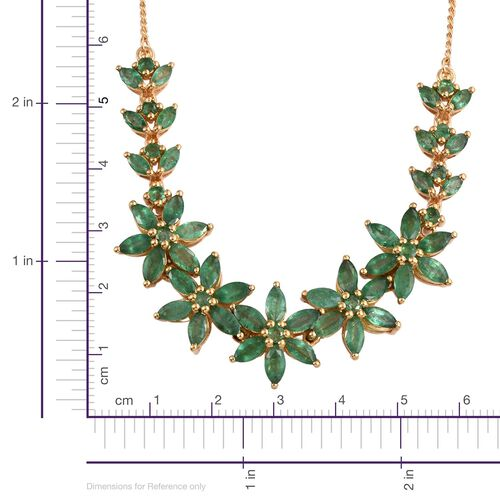 Kagem Zambian Emerald (Mrq) Floral Necklace (Size 18) in 14K Gold Overlay Sterling Silver 10.000 Ct.