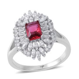 ELANZA AAA Simulated Rubelite (Oct), Simulated White Diamond Ring in Rhodium Plated Sterling Silver