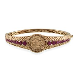 Stefy African Ruby (Rnd), Pink Sapphire Bangle (Size 7.50) with Coin in 14K Gold Overlay Sterling Silver 5.250 Ct.Silver Wt.26.26 Gms