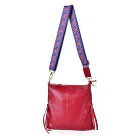 Designer Inspired-Marilyn Genuine Leather True Red Crossbody Bag with External Zipper Pocket and Floral Print Adjustable Shoulder Strap (Size 25X23X8 Cm)