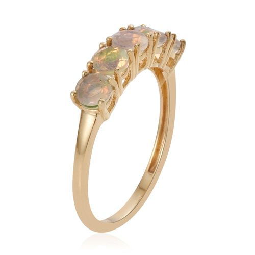 Ethiopian Welo Opal 5 Stone Ring in Gold Overlay Sterling Silver
