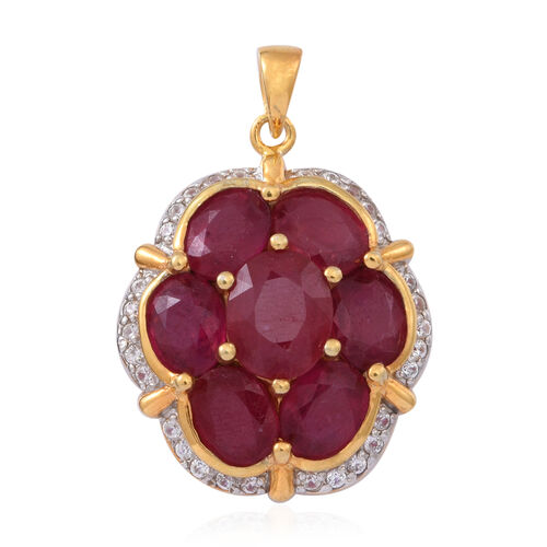 African Ruby (Ovl 3.75 Ct), Natural Cambodian White Zircon Pendant in 14K Gold Overlay Sterling Silver 15.010 Ct.