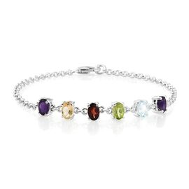 Mega Deal- Mozambique Garnet (Ovl), Sky Blue Topaz, Hebei Peridot and Multi Gemstone Bracelet (Size 7.5) in Sterling Silver 2.750 Ct. Silver wt 3.76 Gms.