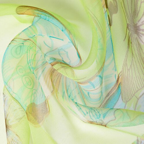 100% Mulberry Silk Blue, Brown and Multi Colour Butterfly Pattern Green Colour Scarf (Size 170x50 Cm)