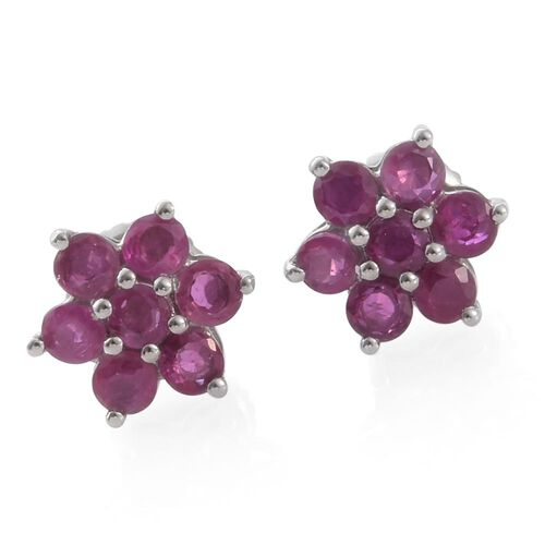 RHAPSODY 950 Platinum AAAA Pigeon Blood Burmese Ruby (Rnd) Floral Stud Earrings (with Screw Back) 1.000 Ct.