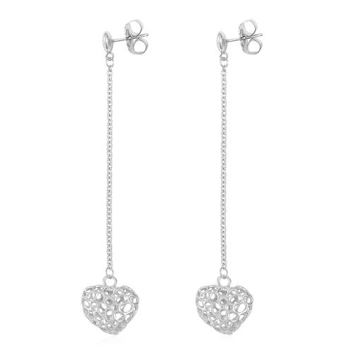 RACHEL GALLEY Rhodium Plated Sterling Silver Lattice Heart Earrings (with Push Back), Silver wt. 5.87 Gms.