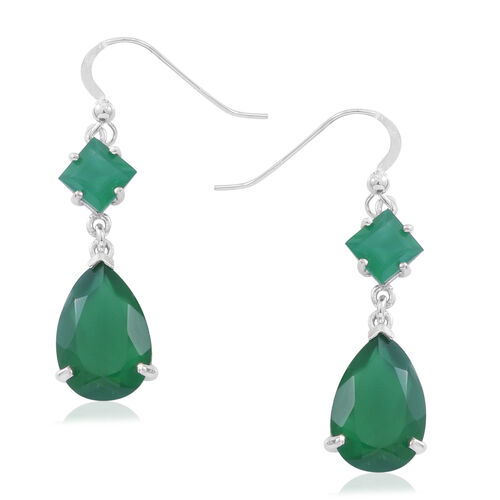 Preview Auction - Verde Onyx (Pear) Drop Hook Earrings in Rhodium Plated Sterling Silver 10.000 Ct.