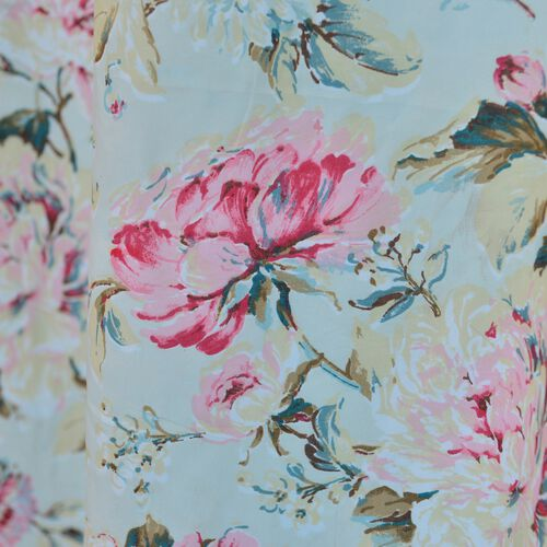 Pink Floral Printed Double Side Beige Colour Curtain (Size 230X167 Cm) (Estimated dispatch within 5-7 working days)