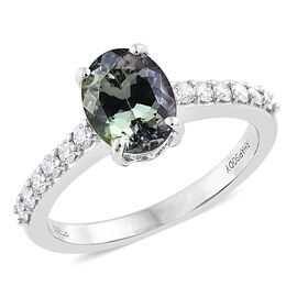 RHAPSODY 950 Platinum 2.25 Ct AAA Natural Green Tanzanite Ring with Diamond SI G-H