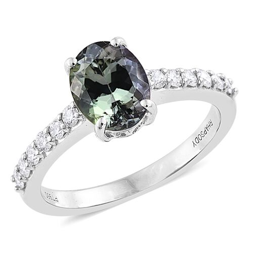 RHAPSODY 950 Platinum 2.25 Ct AAA Green Tanzanite Ring with Diamond VS E-F, Platinum Wt 4.87 gm