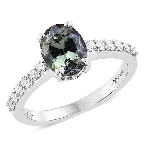 RHAPSODY 2.25 Ct AAAA Green Tanzanite and Diamond (VS/E-F) Ring in 950 Platinum