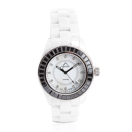 One Time Deal - MONCHIC Sapphire Glass, Swarovski Crystal and Diamond White Ceramic Swiss Movement Watch