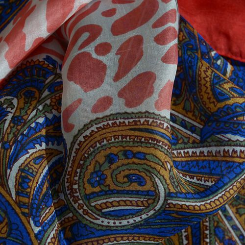 100% Mulberry Silk Red, Blue and Multi Colour Paisley Pattern Pareo (Size 180x100 Cm)