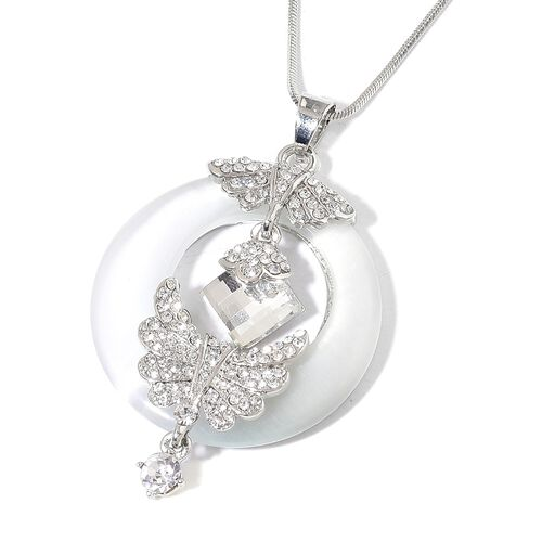 Simulated White Diamond, Simulated White Cats Eye and White Austrian Crystal Angel Wings Pendant With Chain in Silver Tone